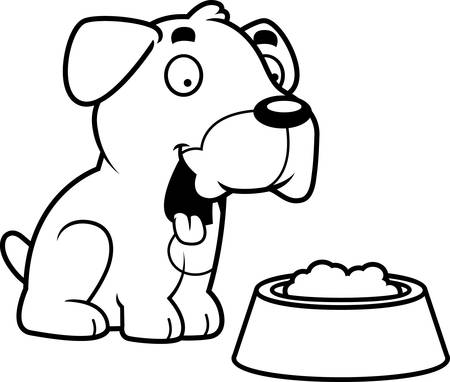 boxer dog: A cartoon illustration of a Boxer dog with a bowl of food.