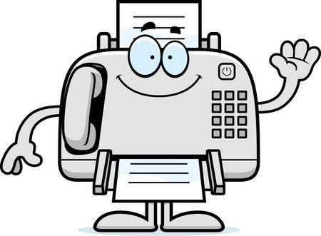 A cartoon illustration of a fax machine waving. Illustration