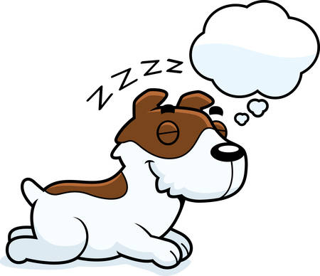 jack russell: A cartoon illustration of a Jack Russell Terrier sleeping and dreaming.