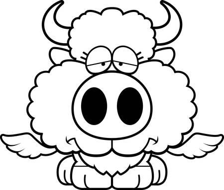 A cartoon illustration of a winged buffalo with a sad expression.