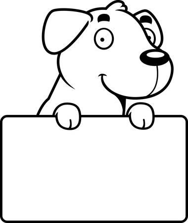 A cartoon illustration of a Labrador Retriever with a sign.