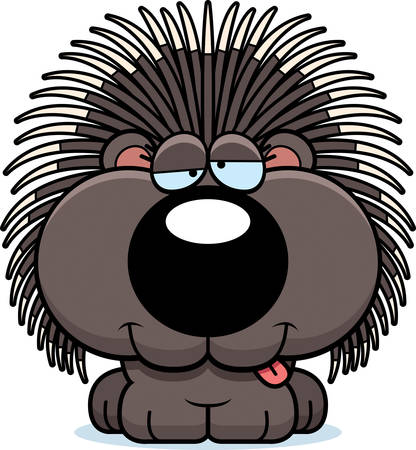A cartoon illustration of a porcupine with a goofy expression. Ilustração