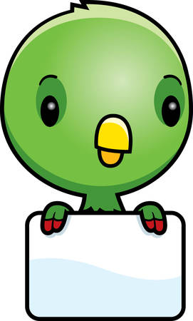 green cute: A cartoon illustration of a baby parrot with a blank sign.