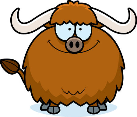 smirking: A cartoon illustration of a yak smiling. Illustration