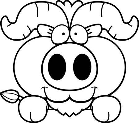 A cartoon illustration of a little ox peeking over an object.