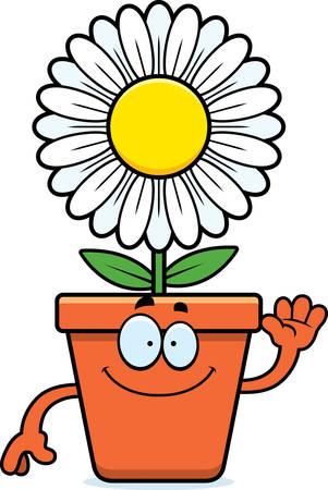 A cartoon illustration of a flowerpot waving.