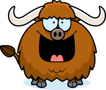 yak: A cartoon illustration of a yak looking happy. Illustration