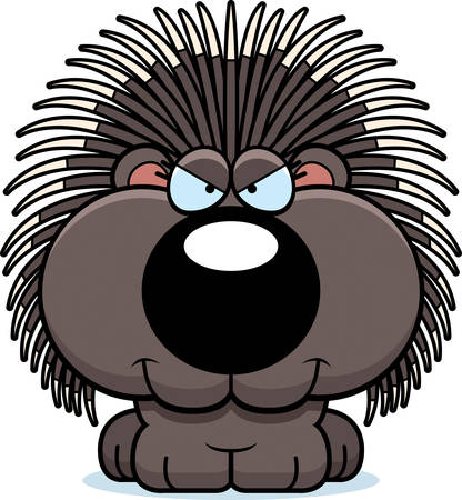 porcupine: A cartoon illustration of a porcupine with a sly expression.