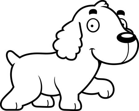 cocker: A cartoon illustration of a Cocker Spaniel walking. Illustration