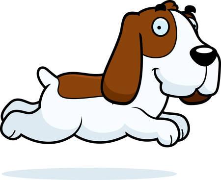 A cartoon illustration of a Basset Hound running.