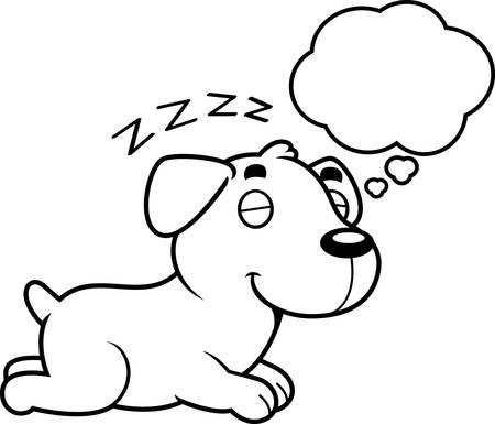 labrador: A cartoon illustration of a Labrador Retriever sleeping and dreaming.