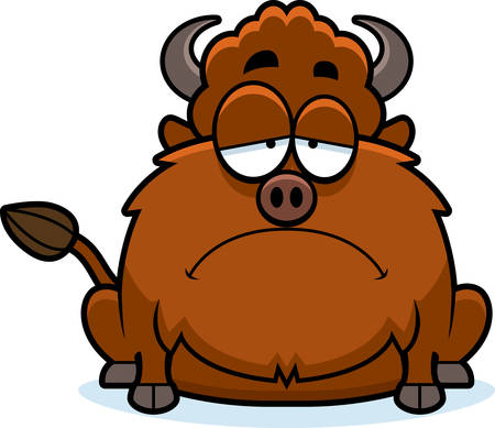 bison: A cartoon illustration of a bison looking sad. Illustration