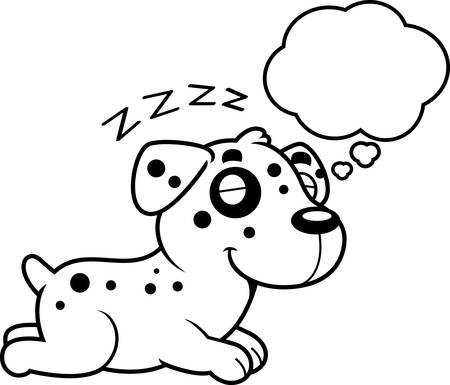 dalmatian puppy: A cartoon illustration of a Dalmatian sleeping and dreaming.