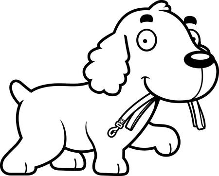 A cartoon illustration of a Cocker Spaniel walking with a leash in his mouth.
