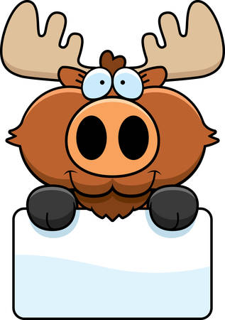 eurasian: A cartoon illustration of a moose with a white sign. Illustration