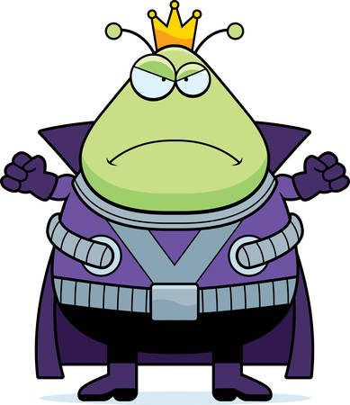 spacesuit: A cartoon illustration of a Martian king looking angry.