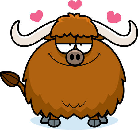 yak: A cartoon illustration of a yak in love. Illustration