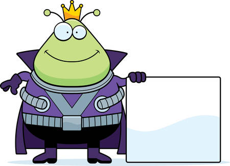 martian: A cartoon illustration of a Martian king with a sign.
