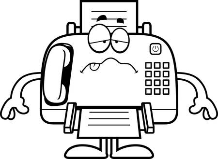 nauseous: A cartoon illustration of a fax machine looking sick.