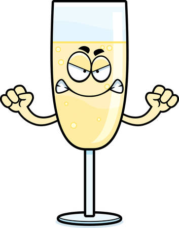 A cartoon illustration of a glass of champagne looking angry. Çizim