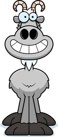 billy goat: A cartoon illustration of a goat looking happy.