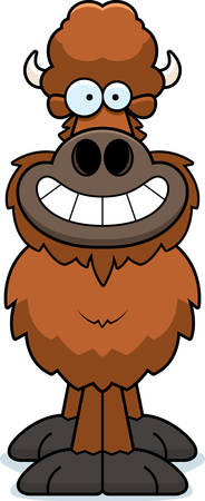 A cartoon illustration of a buffalo looking happy.