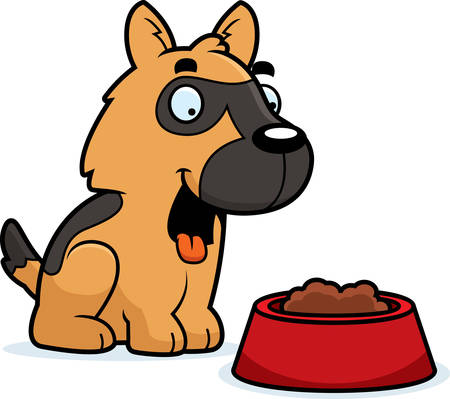 A cartoon illustration of a German Shepherd with a bowl of food. Çizim
