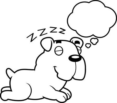 though: A cartoon illustration of a Bulldog sleeping and dreaming. Illustration