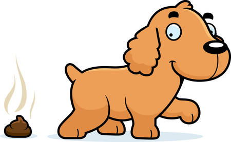 A cartoon illustration of a Cocker Spaniel pooping.