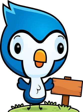 bluejay: A cartoon illustration of a baby blue jay with a wooden sign post.