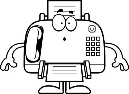 A cartoon illustration of a fax machine looking surprised.