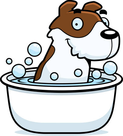 jack russell: A cartoon illustration of a Jack Russell Terrier taking a bath. Illustration