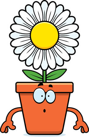 A cartoon illustration of a flowerpot looking surprised.
