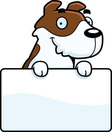 jack russell: A cartoon illustration of a Jack Russell Terrier with a sign.