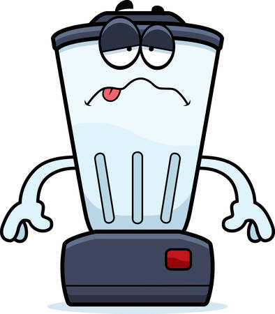 nauseous: A cartoon illustration of a blender looking sick.