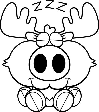 taking nap: A cartoon illustration of a moose taking a nap.