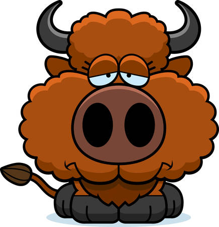 A cartoon illustration of a buffalo with a sad expression.