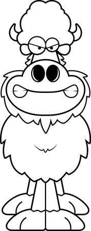 A cartoon illustration of a buffalo looking angry.