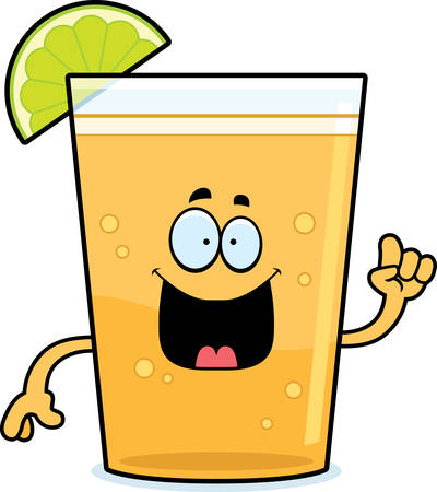 A cartoon illustration of a beer with lime with an idea. Ilustração