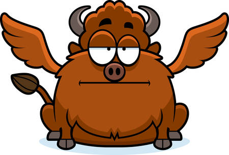 mild: A cartoon illustration of a buffalo with wings looking bored. Illustration