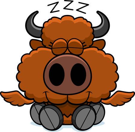 A cartoon illustration of a winged buffalo taking a nap.