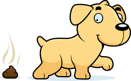 feces: A cartoon illustration of a Labrador Retriever pooping.