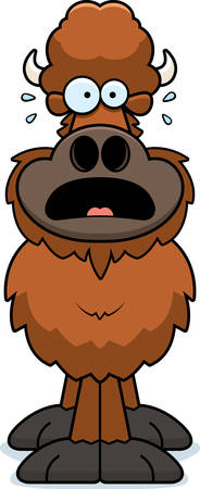 A cartoon illustration of a buffalo looking scared.