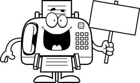 fax machine: A cartoon illustration of a fax machine holding a sign. Illustration