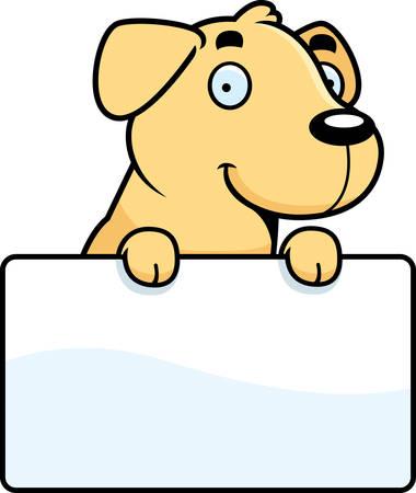 labrador: A cartoon illustration of a Labrador Retriever with a sign.