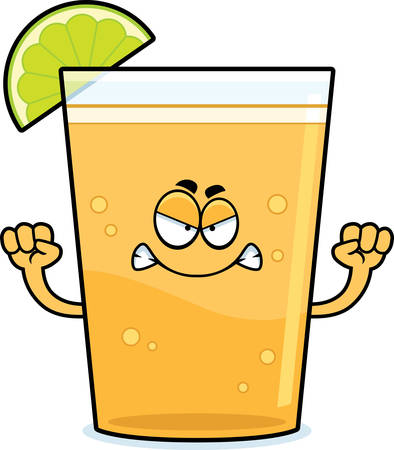 A cartoon illustration of a beer with lime looking angry. Çizim
