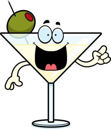 A cartoon illustration of a martini with an idea. Иллюстрация
