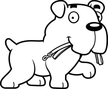A cartoon illustration of a Bulldog walking with a leash in his mouth.