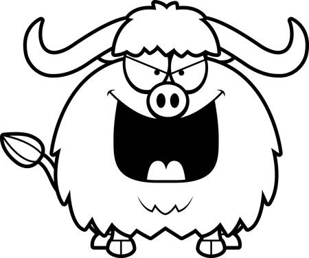 yak: A cartoon illustration of an evil looking yak. Illustration