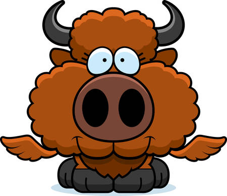 A cartoon illustration of a winged buffalo happy and smiling. Illustration